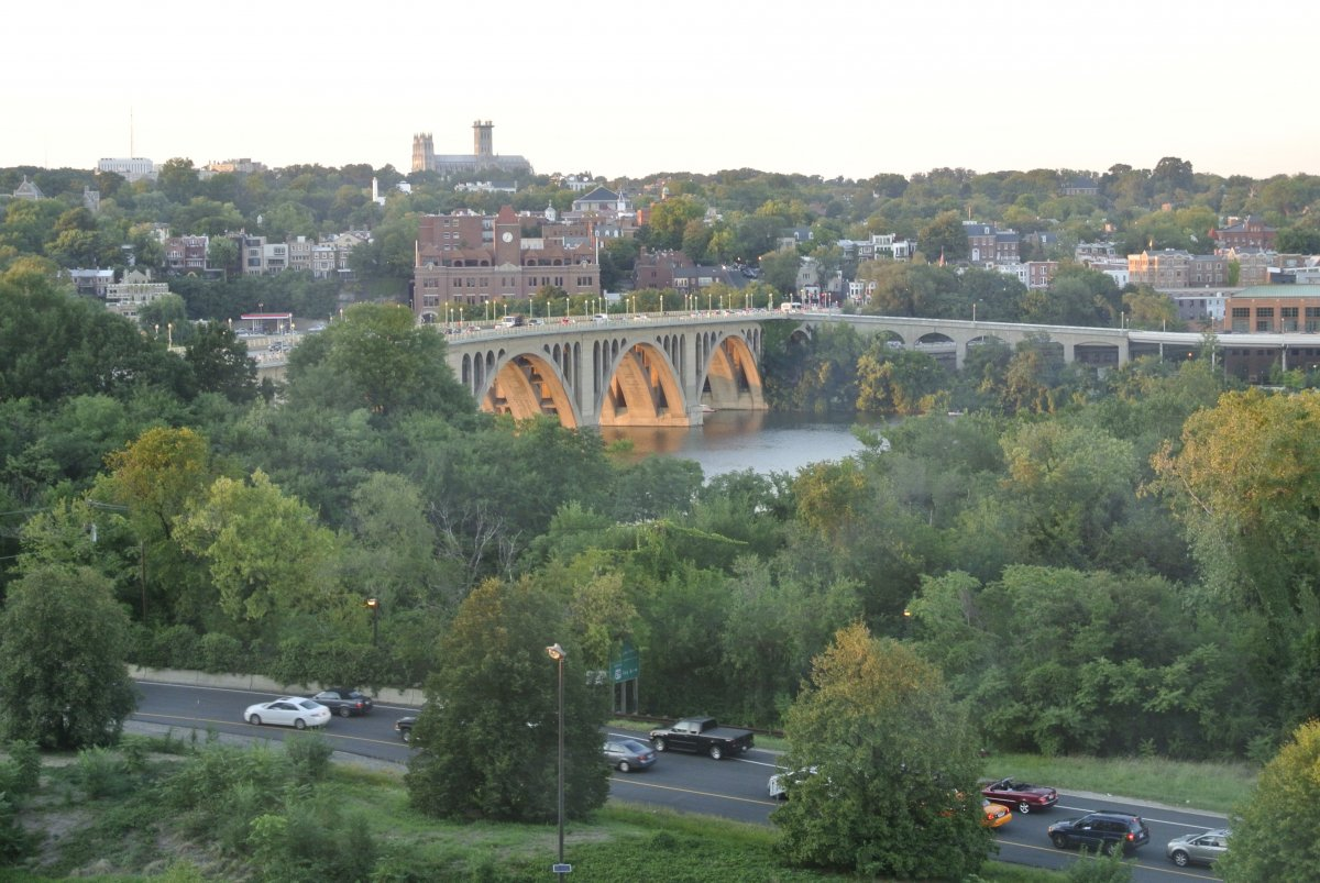 View of Georgetown and Francis Scott Key Bridge from Arlington