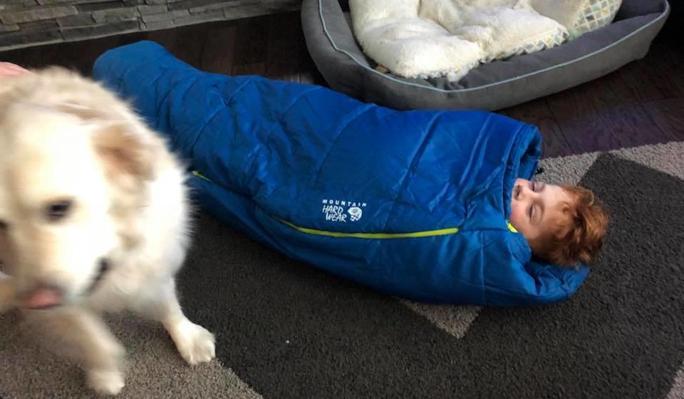gwc - gavin testing out his sleeping bag